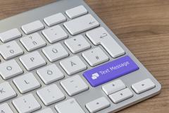 Text Message on modern Keyboard - stock illustration