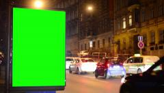 Billboard - green screen - night city - urban street with cars - timelapse Stock Footage