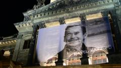 National Museum - exterior - front part - night - memorial of Vaclav Havel Stock Footage