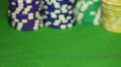 Somebody pushing the chips to the front, gives all in due to his four aces - stock footage