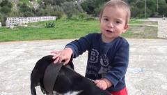 Small child tries to take off dog collar 2- - stock footage