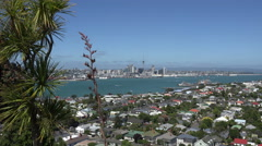 Auckland skyline and Devonport suburb, New Zealand Stock Footage