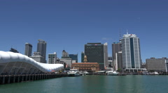 Waterfront harbour skyline, Auckland, New Zealand Stock Footage