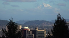The skyline of Portland Oregon with Mt. Hood in the distance. Stock Footage