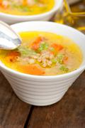 Syrian barley broth soup Aleppo style - stock photo
