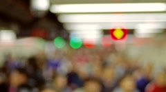 people crowd in train station of hong kong - stock footage