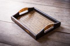 Chinese bamboo woven tray Stock Photos