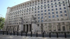 Ministry of Defence building in Whitehall, London - stock footage