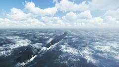 Dive of russian submarine Borei at northern waters 4K Stock Footage