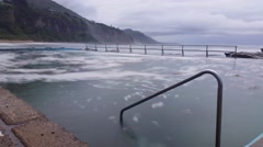 Moody Ocean Pool Dreamy Seascape Stock Footage