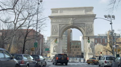 Freedom Tower Washington Square Park arch driving 4K Manhattan NYC Stock Footage