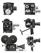 old retro vintage movie video camera vector illustration - stock illustration