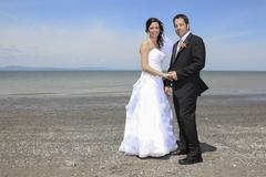 Stock Photo of A bride and groom wedding in a perfect day of summer