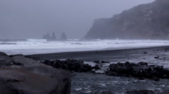 Hailing on a Black Sand Beach Stock Footage