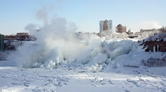 NiagaraFalls USA FrozenFalls 03svv Stock Footage