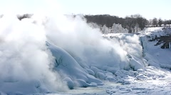 NiagaraFalls USA FrozenFalls 10svv Stock Footage