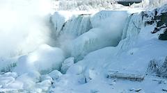 NiagaraFalls USA FrozenFalls 05svv Stock Footage