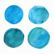 Set of blue watercolor round stains Stock Illustration