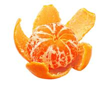 Ripe tangerine peel with purified Stock Photos