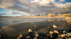 Timelapse of Provo Boat Harbor at Sunset Stock Footage
