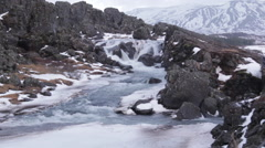 Wide Waterfall at Thingvellir National Park Stock Footage