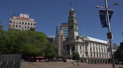 Auckland civic centre, town hall and MLC building, New Zealand Stock Footage