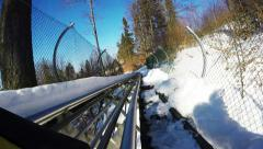 Winter Bobsleigh Roller coaster attraction. Speedy like crazy. Stock Footage
