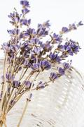 Dried lavender flowers in a basket - stock photo