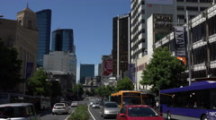 Traffic on Queens Street, Auckland, New Zealand Stock Footage