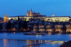 Prague, charles bridge and prague castle hradcany at na Stock Photos