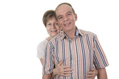 Senior Couple Isolated on a white Background - stock photo