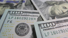 One Hundred Dollar Bills in a Mess, Macro Stock Footage