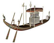 Egyptian sacred barge with tonb - 3D render Stock Illustration