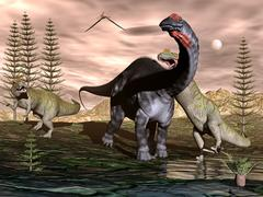 Allosaurus attacking apatosaurus dinosaur - 3D render - stock illustration