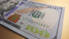 One Hundred Dollar Bill, Tracking/Macro Stock Footage