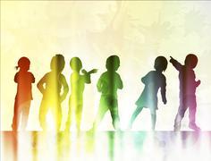 Happy children dancing together - stock illustration