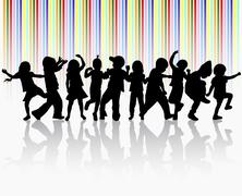 Happy children dancing together - stock illustration