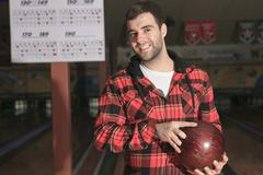 A bowling player in the alley Stock Photos