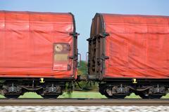 Freight train on rails Stock Photos