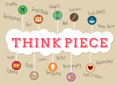 Think piece heading with multiple concepts Stock Illustration