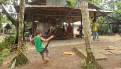 Child plays on Pohnpei in the Federated State of Micronesia Stock Footage