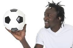 Portrait Of Happy Soccer Player Isolated Over White Background Kuvituskuvat