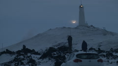 Timelapse - Moonlit Lighthouse in Iceland Stock Footage