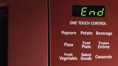 4K Red Microwave counts down from 10 Stock Footage
