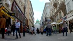 Timelapse People walking on Busy, Crowded street in the city Stock Footage