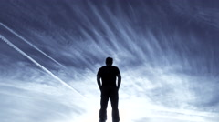 Man Standing Sky High Dropping Out Of Frame Stock Footage