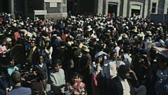 Mexico city 1975: crowd celebrating outdoor - stock footage
