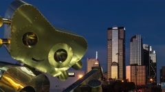 Dallas Skyline zoom out with guitar sculpture Stock Footage