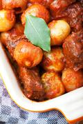 Stock Photo of closeup of a traditional greek stifado dish