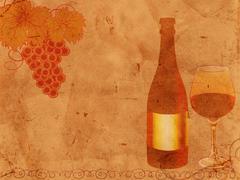 old-fashioned wine design - stock illustration